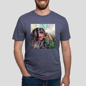 Dachshund Painting Mens Tri-blend T-Shirt