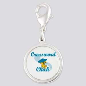 Crossword Chick #3 Silver Round Charm
