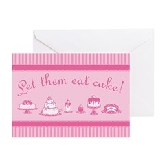 Sweet Pink Let Them Eat Cake Greeting Cards (Pk of