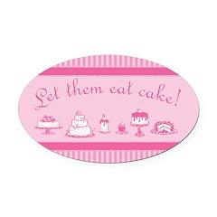 Sweet Pink Let Them Eat Cake Oval Car Magnet