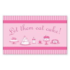Sweet Pink Let Them Eat Cake Sticker (Rectangle)