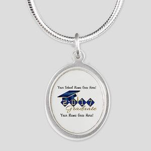 Graduate Blue 2017 Silver Oval Necklace