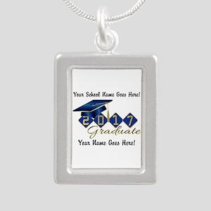 Graduate Blue 2017 Silver Portrait Necklace
