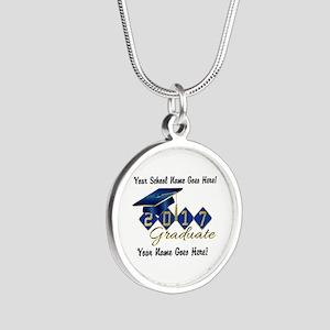 Graduate Blue 2017 Silver Round Necklace