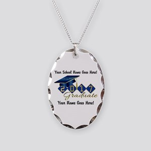Graduate Blue 2017 Necklace Oval Charm
