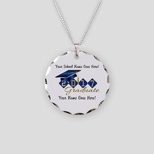Graduate Blue 2017 Necklace Circle Charm