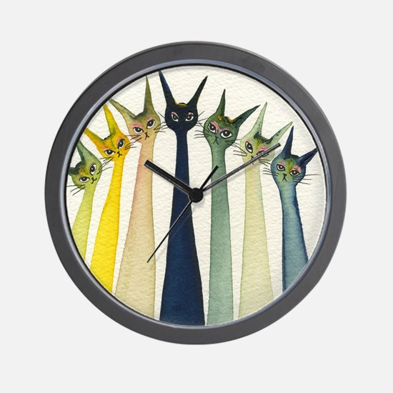 Cool Cats meowing Wall Clock