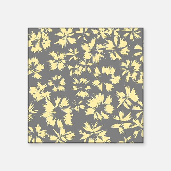 """Yellow and Gray Floral. Square Sticker 3"""" x 3"""""""