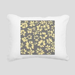 Yellow and Gray Floral. Rectangular Canvas Pillow