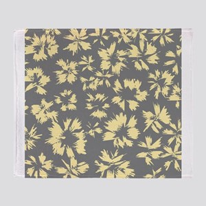 Yellow and Gray Floral. Throw Blanket