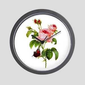 Pierre-Joseph Redoute Rose Wall Clock