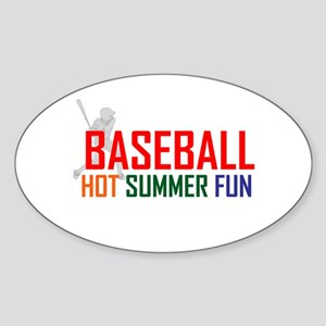 Baseball Hot Summer Fun Sticker (Oval)