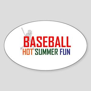 Baseball Hot Summer Fun Sticker (Oval)