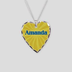 Amanda Sunburst Necklace Heart Charm