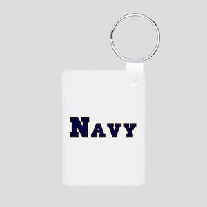 Navy Aluminum Photo Keychain