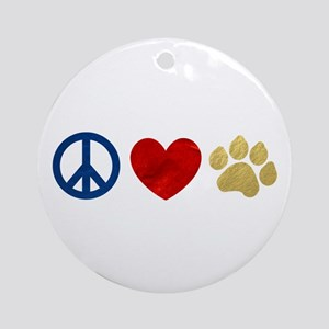 Peace Love Paw Print Ornament (Round)