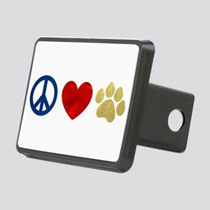 Peace Love Paw Print Rectangular Hitch Cover