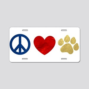 Peace Love Paw Print Aluminum License Plate