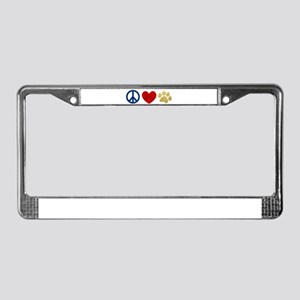 Peace Love Paw Print License Plate Frame