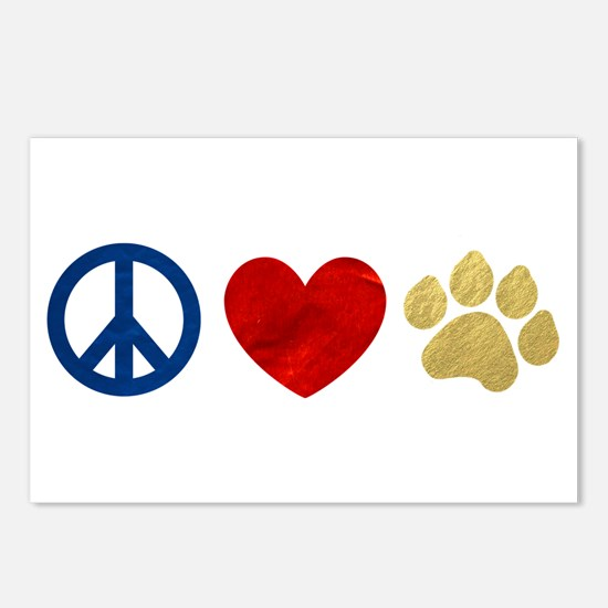 Peace Love Paw Print Postcards (Package of 8)