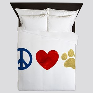 Peace Love Paw Print Queen Duvet
