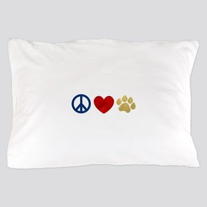 Peace Love Paw Print Pillow Case