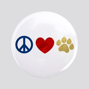 "Peace Love Paw Print 3.5"" Button"