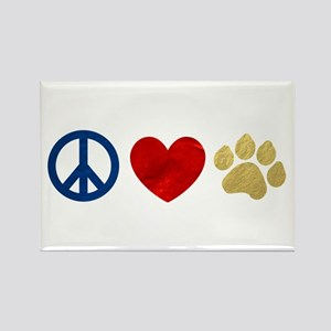 Peace Love Paw Print Rectangle Magnet