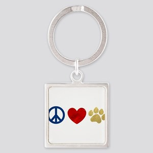 Peace Love Paw Print Square Keychain