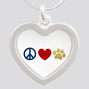 Peace Love Paw Print Silver Heart Necklace