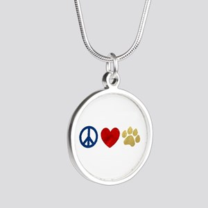Peace Love Paw Print Silver Round Necklace