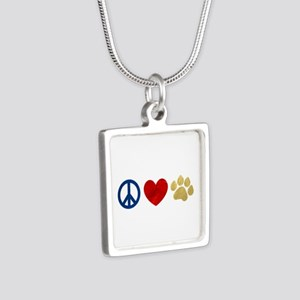 Peace Love Paw Print Silver Square Necklace
