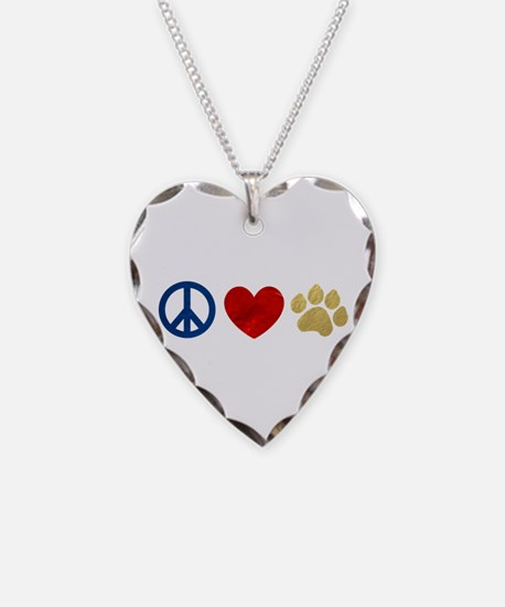 Peace Love Paw Print Necklace
