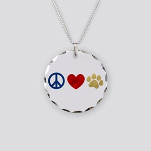 Peace Love Paw Print Necklace Circle Charm