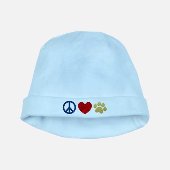 Peace Love Paw Print baby hat