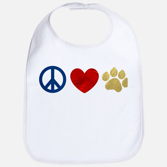 Peace Love Paw Print Bib