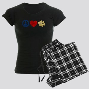 Peace Love Paw Print Women's Dark Pajamas