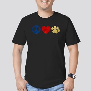 Peace Love Paw Print Men's Fitted T-Shirt (dark)