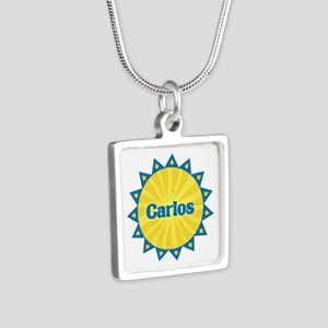 Carlos Sunburst Silver Square Necklace