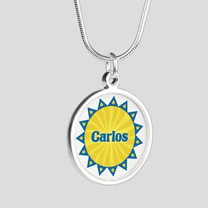Carlos Sunburst Silver Round Necklace