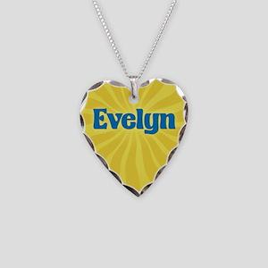 Evelyn Sunburst Necklace Heart Charm