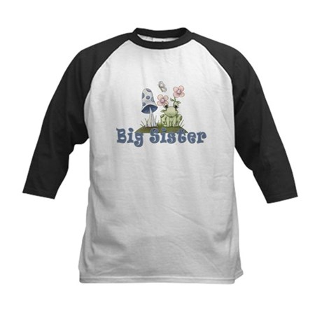 Big Sister Cute Frog Kids Baseball Jersey