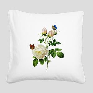 Pierre-Joseph Redoute Rose Square Canvas Pillow