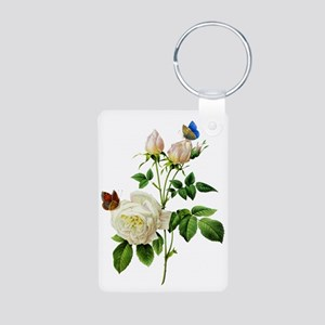 Pierre-Joseph Redoute Rose Aluminum Photo Keychain