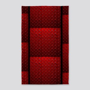 Red Diamond Plate 3'X5' Area Rug