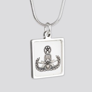 Navy Master EOD Silver Square Necklace