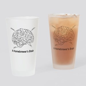 A Homebrewer's Brain (white) Drinking Glass