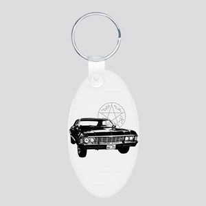 Impala with devils trap Aluminum Oval Keychain