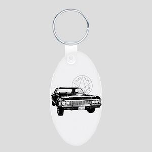 Impala with devils trap Aluminum Oval Keychain