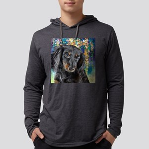 Dachshund Painting Mens Hooded Shirt